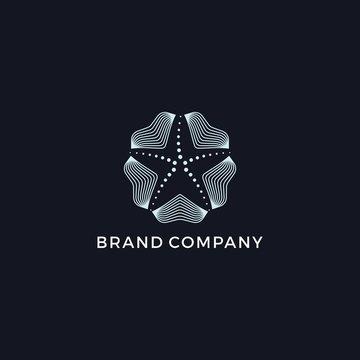 Star fish mono line abstract logo