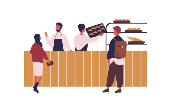 Cartoon people shopping at bakery buying fresh bread vector flat illustration