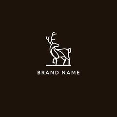 Mono line deer modern logo