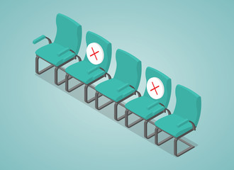 social distancing concept illustration with chair space between with modern isometric style