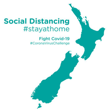New Zealand map with Social Distancing stayathome tag