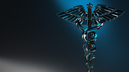Caduceus - medical symbol, 3d render