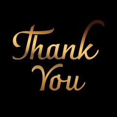 Free thank you images card in gold design vector isolated on white background. Vector illustration.