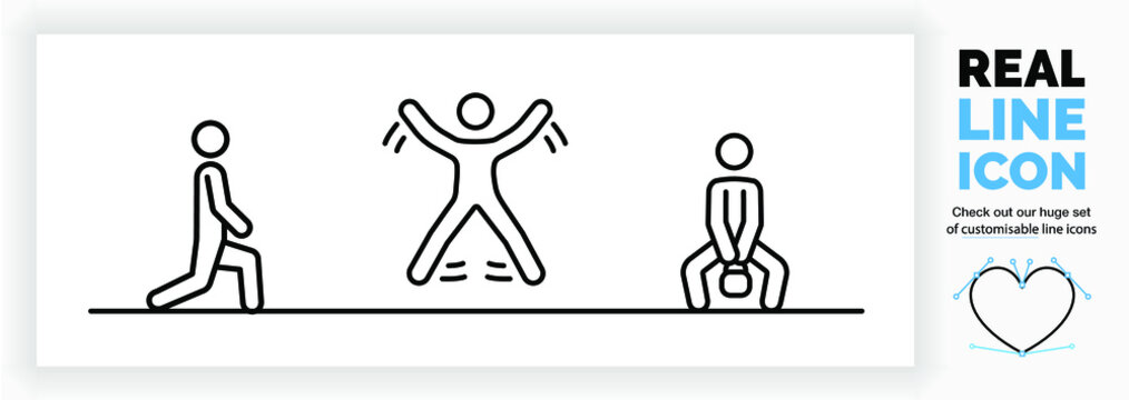 Editable real line icon of a stick figure person staying fit at home by doing exercises for muscle and cardio working on core body strength in modern black lines on a clean white background as eps
