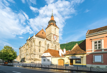 Wall Mural - Landscape with Medieval black church in Brasov, Transylvania, Romania