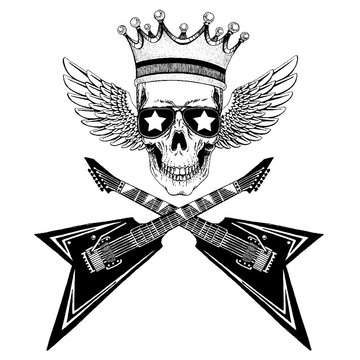 Vector skull with wings in crown with guitars. Logo for shirt, musical poster