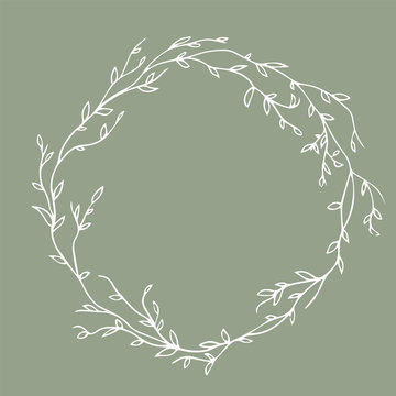 Golden floral round frame. Vector. Isolated. Botanic circle element in doodle style.