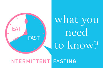 Intermittent fasting what you need to know? Clock with eating and fasting hours. Intermittent Fasting often use for loosing weight or to control