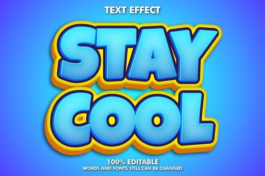 "Editable cartoon text effect ""stay cool"" bannee"
