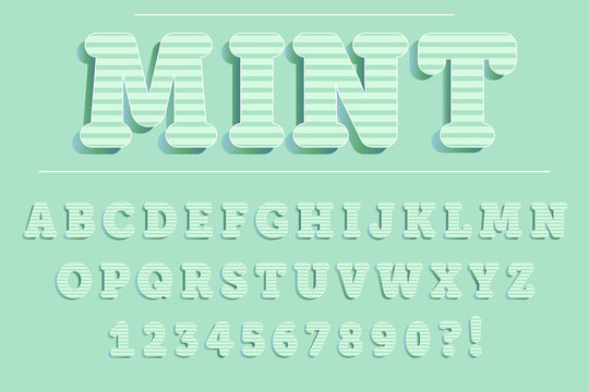 Modern 3D mint Alphabet Letters, Numbers and Symbols. Fresh  Typography . Vector