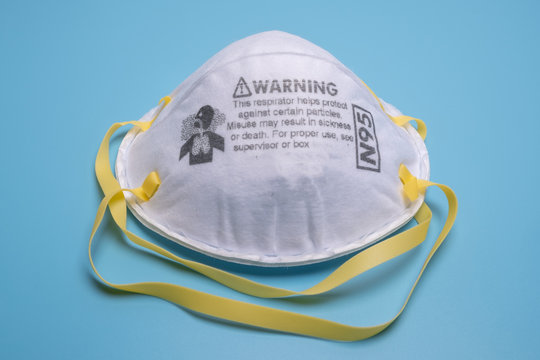 Closeup of N95 respirator. This respirator filter out at least 95% airborne particle including bacteria and virus.