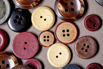 Photo sur Aluminium Macarons Background and texture of multicolored antique buttons