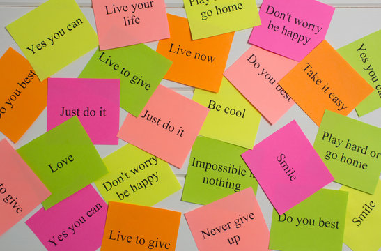 Motivational words on colorful stickers on white background. A vision Board. Cards with words. Affirmation, development, training, seminar. Plan, strategy, to-do list, concept. Creativity, project,