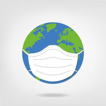 world illustration wearing mask - earth wears health face mask