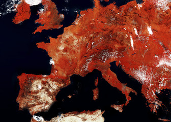 Satellite map of Europe with a warning red tones. Border closures, quarantine in case of a virus pandemic. contains modified Copernicus Sentinel data