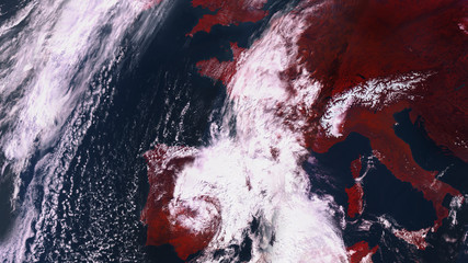 Satellite map of Europe with a warning red tones. Spain and France are covered with clouds. contains modified Copernicus Sentinel data
