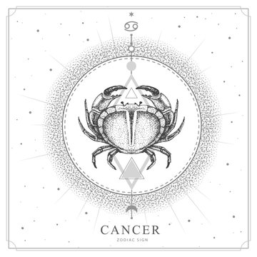 Modern magic witchcraft card with astrology Cancer zodiac sign. Realistic hand drawing crab illustration