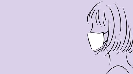 マスクをつけた女性の横顔。パープル背景のシンプルイラスト