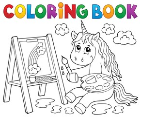 Photo sur Aluminium Enfants Coloring book painting unicorn theme 2