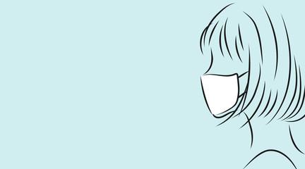 マスクをつけた女性の横顔。ライトブルー背景のシンプルイラスト