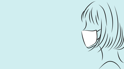 マスクをつけた女性の横顔。ライトブルー背景のシンプルイラスト Fototapete