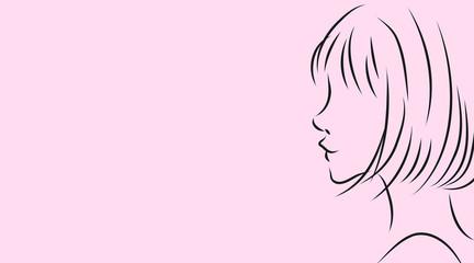 女性の横顔。ピンク背景のシンプルおしゃれイラスト