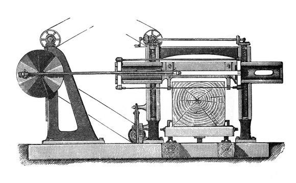 Wood splitter / Log splitter / Old Antique illustration from Brockhaus Konversations-Lexikon 1908
