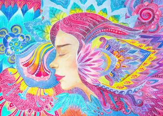 Disegno bella donna armonia tra corpo e anima