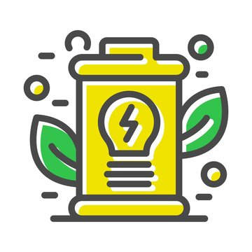 Yellow electricity symbol with leaves. Thin line icon related with energy efficiency technologies isolated on white. Outline smart city pictogram, logotype. Alternative sources vector element for web.