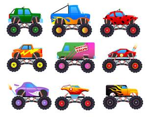 Set of monster truck cartoon