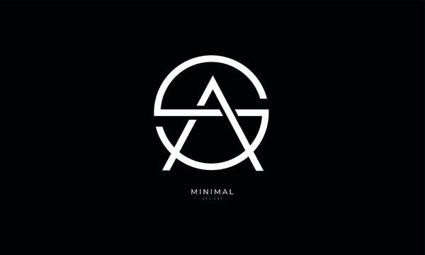 Alphabet letter icon logo SA or AS