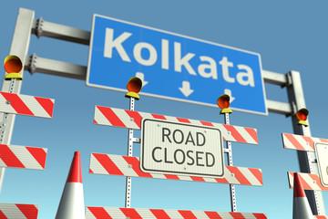 Traffic barricades near Kolkata city traffic sign. Coronavirus disease quarantine or lockdown in India conceptual 3D rendering Papier Peint