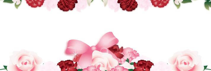 母の日カーネーションのラインアートとバラの花束のイラストとピンクのリボンバナー素材