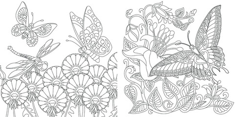 Coloring pages. Vintage butterflies among flowers.