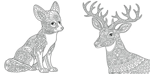 Coloring pages. Fennec fox and Christmas reindeer.