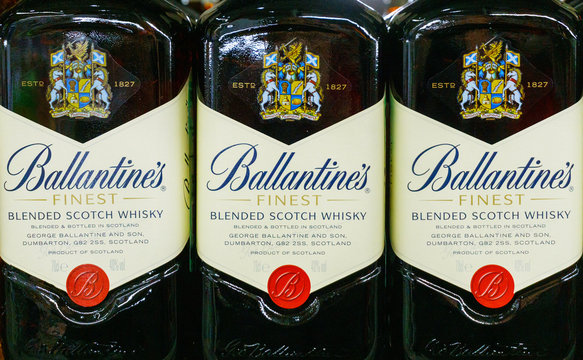 Tyumen, Russia-March 06, 2020: Ballantines whiskey on hypermarket shelves in close-up