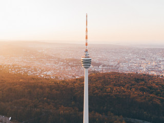 Aerial shot of the TV Tower in Stuttgart, Germany Fotomurales