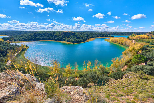 Landscape view of the Laguna Conceja Lake of the Lagunas de Ruidera Lakes Natural Park, Albacete province, Castilla la Mancha, Spain