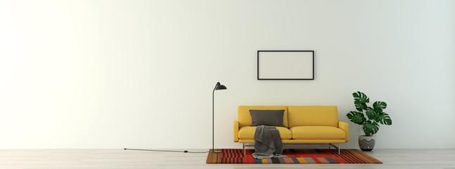 modern interior of living room 3d illustration
