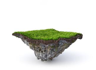 Fototapeta Empty flying island. Piece of ground isolated on a white background. 3d illustration obraz