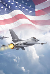 Fototapete - F-16 Fighting Falcon jets (models) fly through clouds with American flag