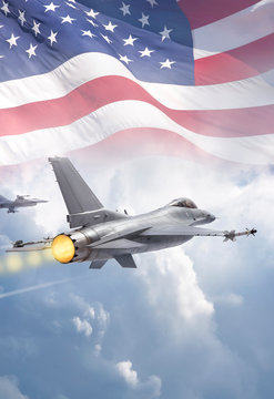F-16 Fighting Falcon jets (models) fly through clouds with American flag