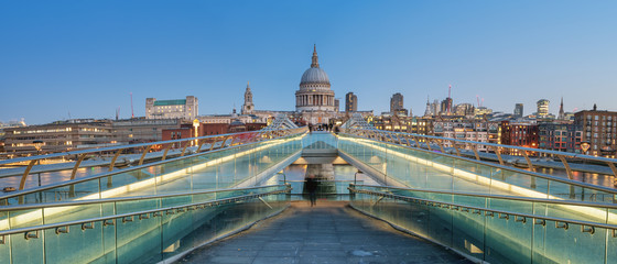Fototapete - Panoramic View of the Millenium bridge and St Paul cathedral in London
