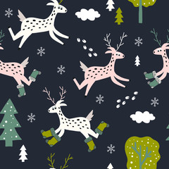 Hand drawn vector cute cartoon seamless pattern illustration little deer with felt boots, Christmas tree, snowflake and cloud on the dark blue background for baby textile, cloth, linen texture, decor.