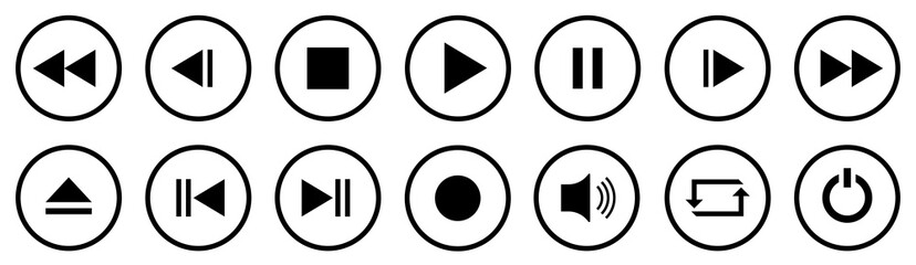 Media Player Buttons set. Media Player icons in circle isolated . Vector.