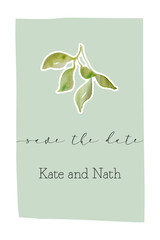Photo sur Toile Retro sign botanical wedding invitation