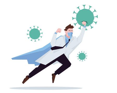 Doctor superhero working in hospital and fighting the coronavirus. Healtcare concept corona virus outbreak pandemic stop. Vector illustration.