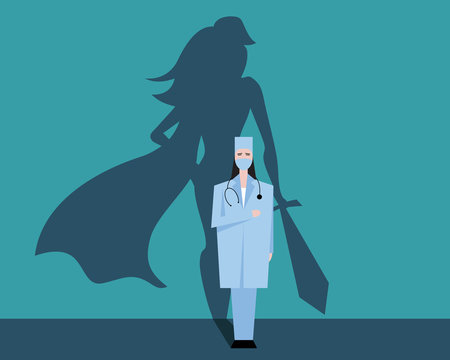 Super woman doctor or nurse. Hospitals superhero fighting for life. Thank you medical personal for work. Vector illustration concept.