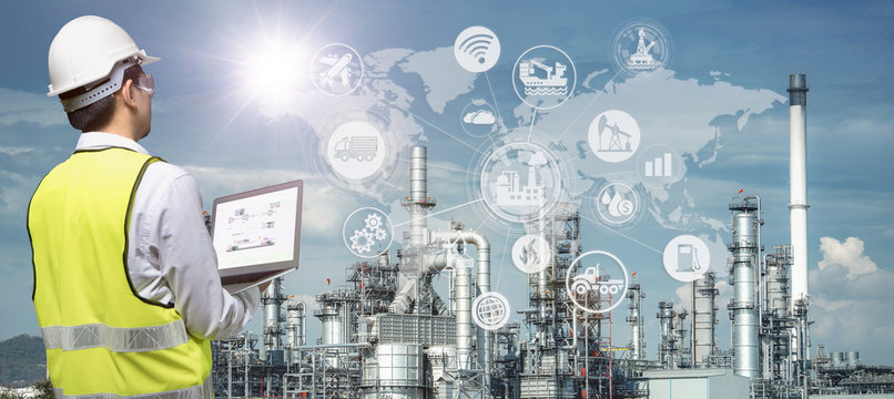 Industry 4.0 of oil and gas refining process of refinery plant, Double exposure of engineer working, Industrial energy system network icons concept.