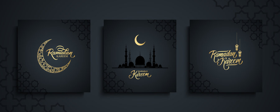 Ramadan Kareem greeting cards set. Ramadan islamic holiday invitations templates collection with gold crescent moon, hand drawn lettering and mosque. Vector illustration.